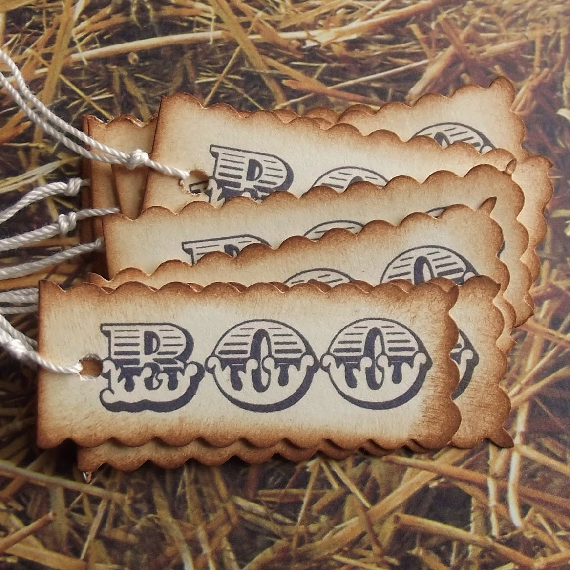 BOO Halloween Tags - Vintage Inspired, Hand Aging, Scalloped Edges