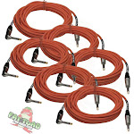 Guitar Cables Right Angle 20FT ¼ Jack 4 Cords FAT TOAD Instrument Shielded Wires