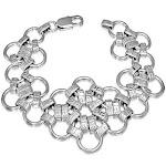Stainless Steel Silver-Tone Interlocking Circles Womens Wide Chain Mesh Bracelet