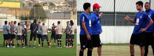 Tite conversa com os jogadores titulares antes do treino; jogadores do Bahia treinaram no CT do Barueri (Foto: Gustavo Serbonchini / Globoesporte.com / Divulgação / E.C. Bahia)