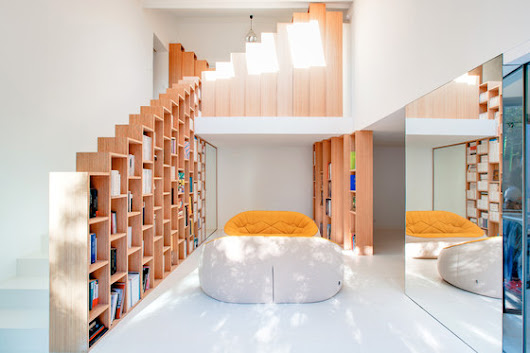 Bookshelf House by Andrea Mosca Creative Studio | Living space