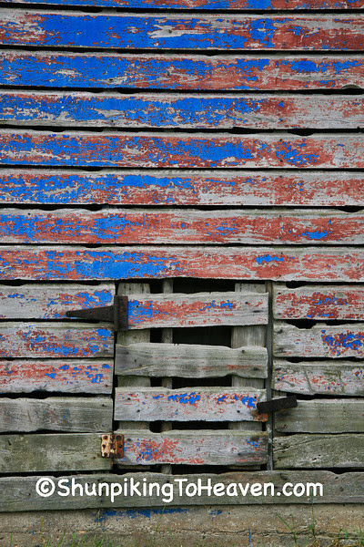 Red, Gray, and Blue Shed at Sywassink Farm, Muscatine County, Iowa