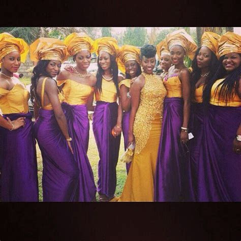 Nigerian wedding. Dark purple and yellow gold. Bride and