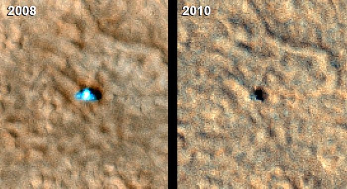 Before-and-after shots showing the Phoenix lander on the Martian surface in 2008 and 2010, respectively.