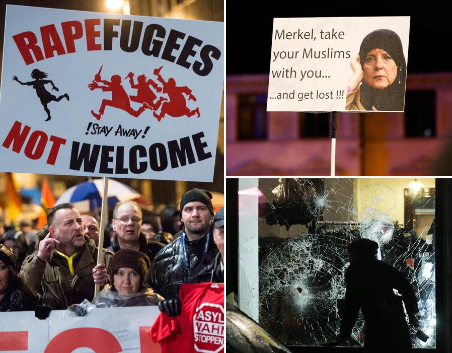 Protestors in Lepzig rally