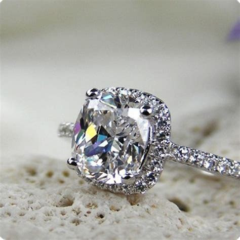 3CT Cushion Synthetic Diamonds Ring For Women Engagement