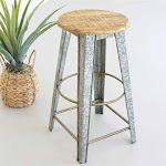 Galvanized Stool with Wooden Top