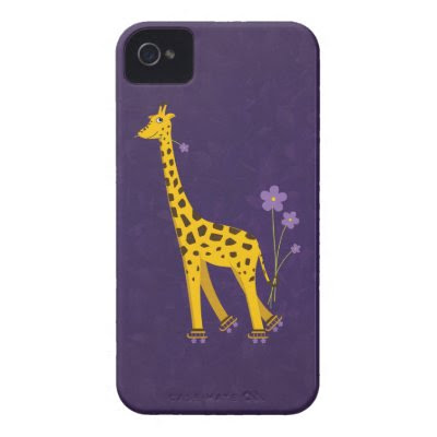 Funny Giraffe Roller Skating Purple iPhone 4 Cases