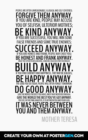 Mother Teresa Anyway Poster Maker Quote Posters Custom Posters