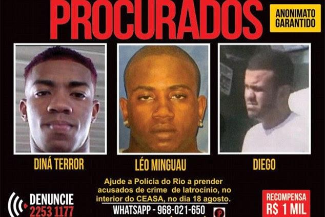 Procura-se: Diná Terror (à esquerda) foi nomeado, juntamente com outros três no ano passado pela polícia brasileira, com uma recompensa de um milhão de reais - $ 330.000 ou R $ 230.000