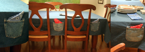 Denim tablecloth with pockets