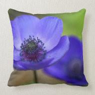 Blue Poppy Flower throwpillow