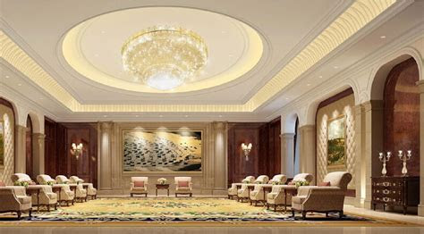 Lighting and wall design of business reception hall