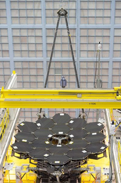 The last of 18 primary mirror segments is installed onto the James Webb Space Telescope at NASA's Goddard Space Flight Center in Greenbelt, Maryland...on February 3, 2016.