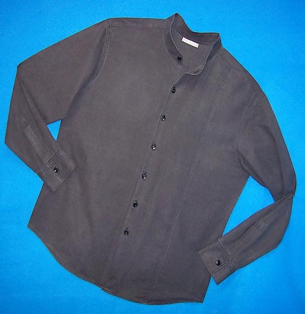 "Black ""distressed"" Silk-Hemp Mens Shirt"