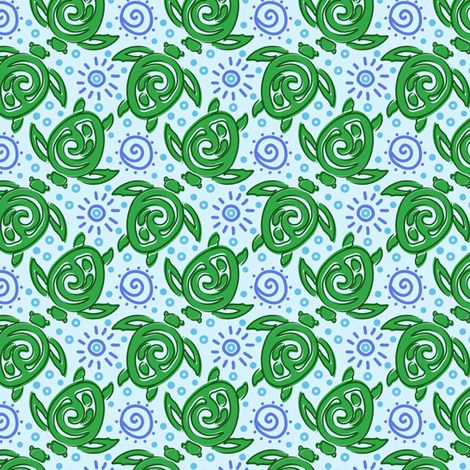 Batik Turtles Green - eppiepeppercorn - Spoonflower