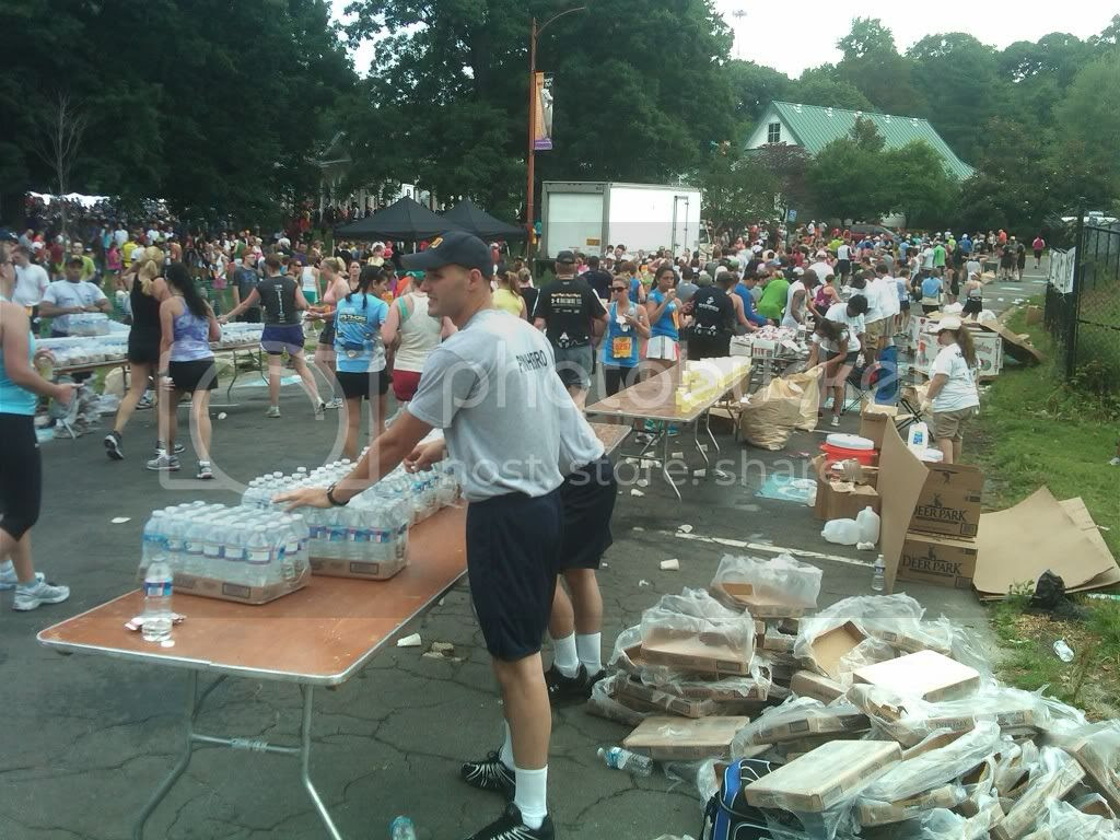 Volunteers handing out water