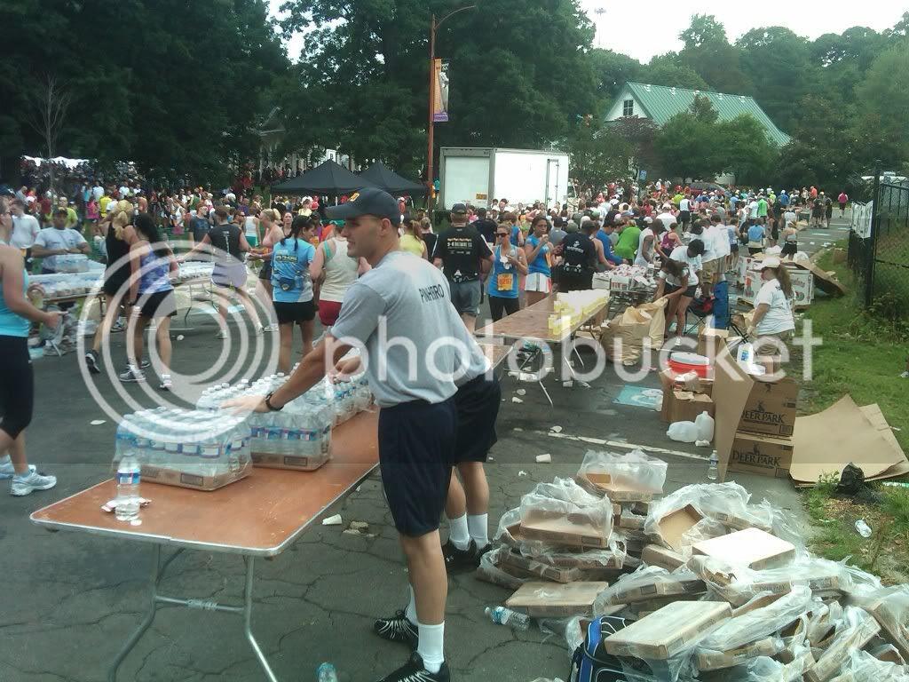 Volunteers handing out water