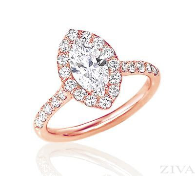 Rose Gold Marquise Halo Engagement Ring