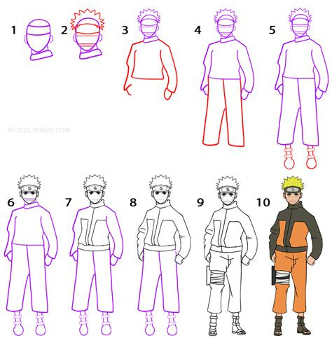draw naruto step  step pictures coolbkids