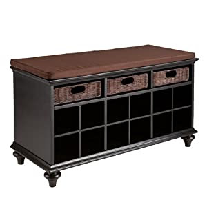 Amazon.com: Southern Enterprise Chelmsford Entryway Bench, Black ...