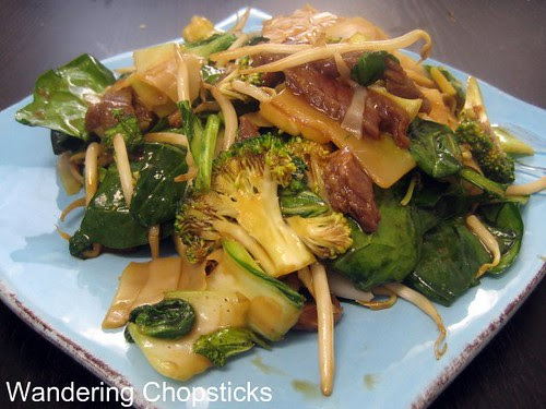 Banh Uot Xao Bo (Vietnamese Wet Rice Noodle Sheet Stir-fry) with Beef, Bok Choy, Broccoli, Bean Sprouts, and Spinach 1