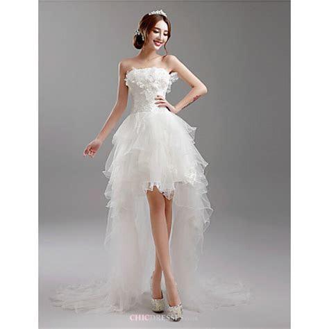 A line Asymmetrical Wedding Dress   Strapless Tulle,Cheap