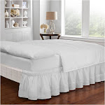 Easy Fit Baratta Stitch Embroidered Bed Skirt Queen/King White