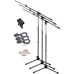 Microphone Boom Arm Stand 3 Pack Holder XLR Cable Mic Clip Stage Studio Griffin
