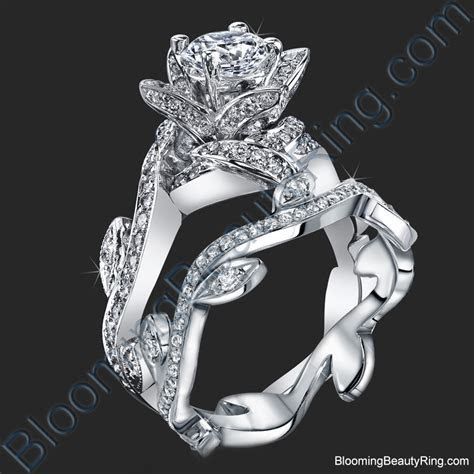 Lotus Ring with Leaves 1.22 ctw. Diamond Flower Engagement