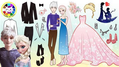 Paper Dolls Elsa and Jack Frost Dress up for Wedding