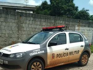 PM de Ceará-Mirim foi chamada assim que os corpos foram encontrados (Foto: Jossean Pedro)