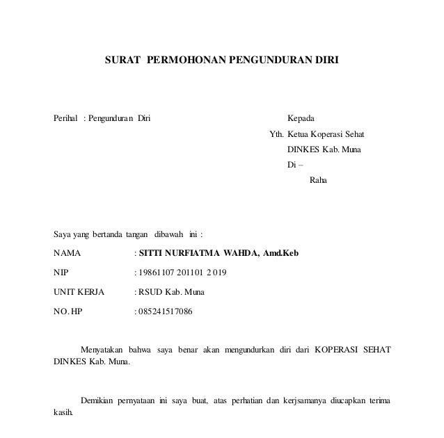Contoh Surat Pengunduran Diri Dari Organisasi Serikat ...
