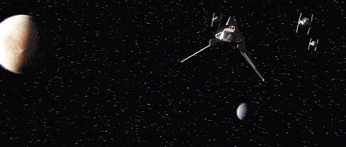 Escorted by three V-Wing fighters, a Theta-class shuttle carrying what remains of Anakin Skywalker following The Duel returns to Coruscant.