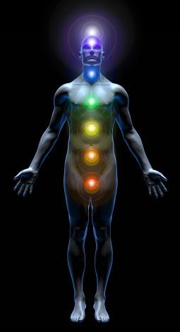 De chakra's of energetische knooppunten, in het fysieke menselijke lichaam.