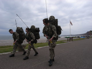Marines yomp through Budleigh Salterton