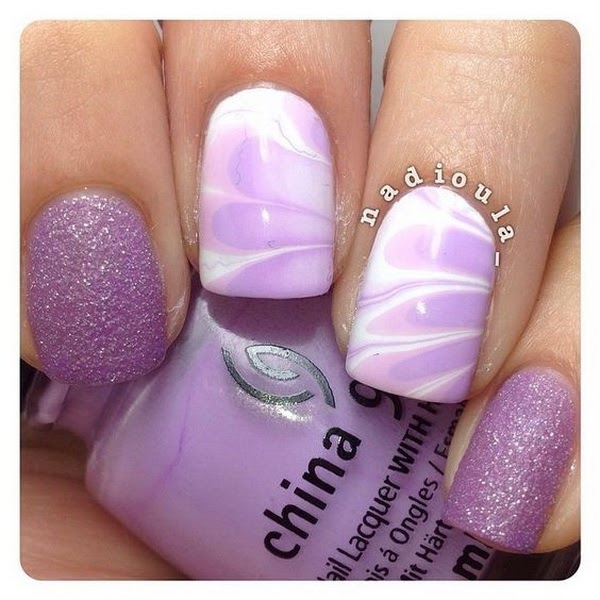White And Purple Ombre Nails