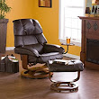 Amazon.com - Cafe Brown Leather Recliner with Ottoman - Recliner Chair