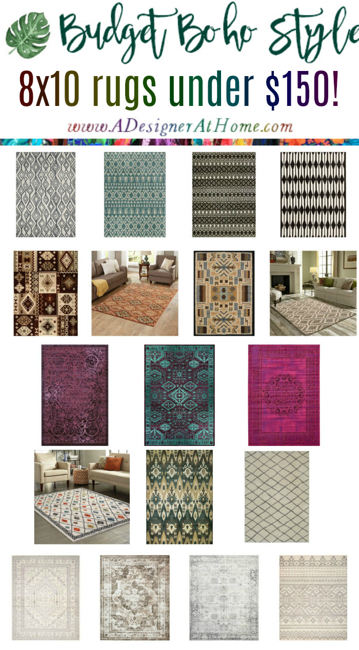budget boho style 8x10 area rugs under $150 - all styles of boho @adesignerathome
