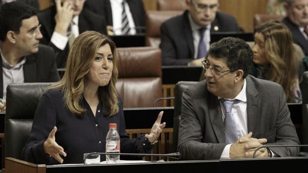 Susana Díaz junto a Diego Valderas en el Parlamento andaluz
