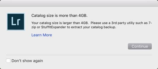 "Mac Users on Backing Up: ""Your Catalog Size Is Larger than 4 GB"""