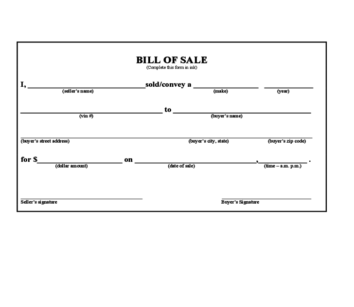 New bill of sale form pdf for South carolina department of motor vehicles bill of sale