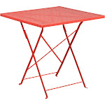 Flash Furniture 28 inch Square Coral Indoor-Outdoor Steel Folding Patio Table