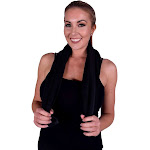 """Puffy Cotton Premium 12"""" by 43"""" 100% Natural Soft Cotton - Fitness Collections Black"""