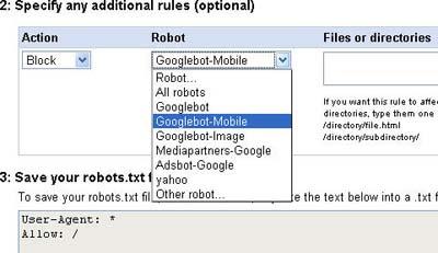 Google Robots.txt generator