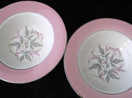 2 Homer Laughlin Barclay Berry Bowls with Pink Rim and Gray