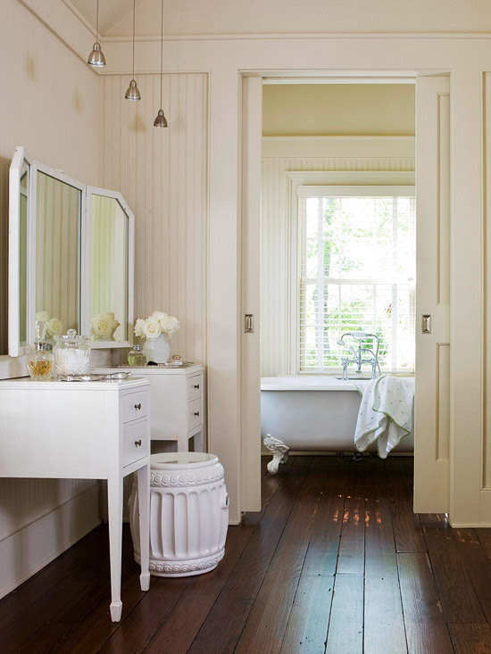Suzie: BHG - Beautiful cottage bathroom with glossy white vanity, white garden stool, ivory ...