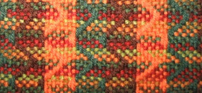 Detail of the blanket's twill zig zags.