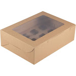 Juvale 12-Pack Kraft Paper Cupcake Boxes Bakery Box with Display Window and Inserts, Brown