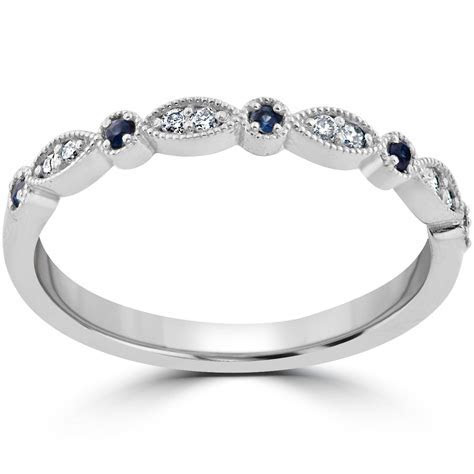 1/5 ct Blue Sapphire & Diamond Wedding Ring Stackable Band